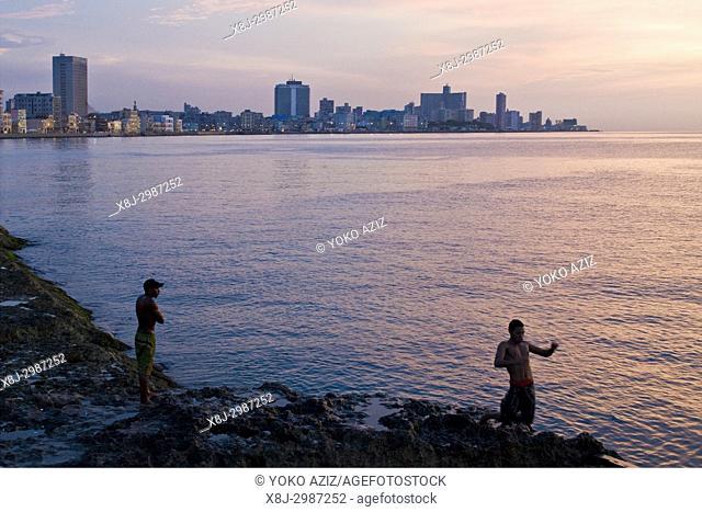 cuba, havana, sunset on the malecon