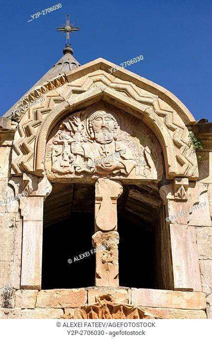 Unique relief with God the Fathjer on facade of Surb Karapet Church in Noravank monastery in Armenia