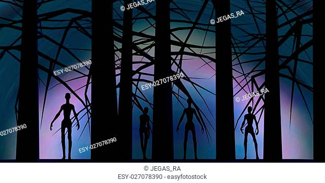 Zombie silhouettes in dark forest. Halloween theme background