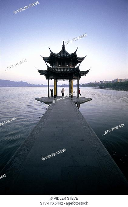 Architecture, Asia, China, Chinese, Exercising, Hangzhou, Holiday, Lake, Landmark, Moody, Pagoda, People, Province, Temple, Tour