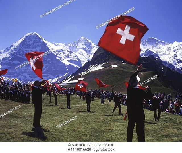 flag thrower, Alpfest Mannlichen, flag throwing, Eiger, Monch, Jungfrau, mountains, Alps, Bernese Oberland, Canton Ber