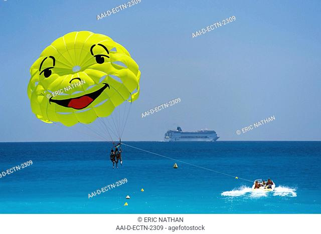 Smiley-faced parasail in the Baie des Anges Bay of Angels in Nice on the Meditteranean coast in southern France