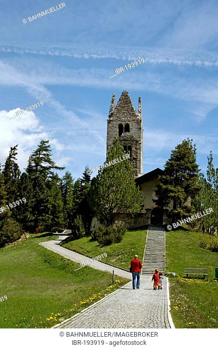 Celerina Upper Engadin Canton Graubuenden Switzerland romanesque church San Gian