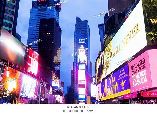 New York City, Times Square, Neon lights illuminating street