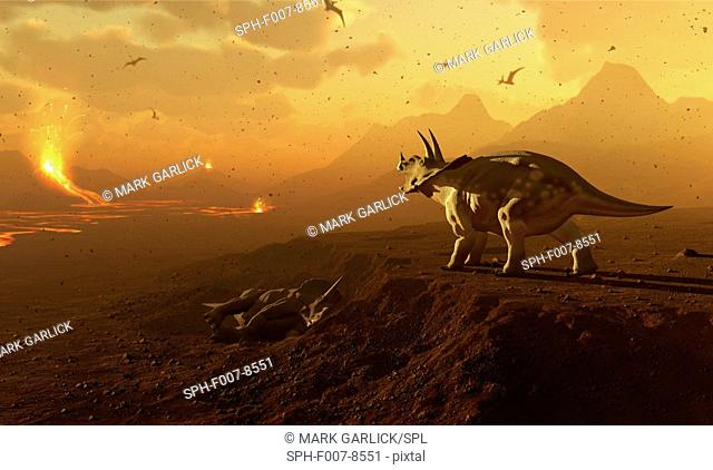 Artwork of a triceratops dinosaur surveying a volcanic landscape. This depicts a scene at the end of the Cretaceous period in Earth's history