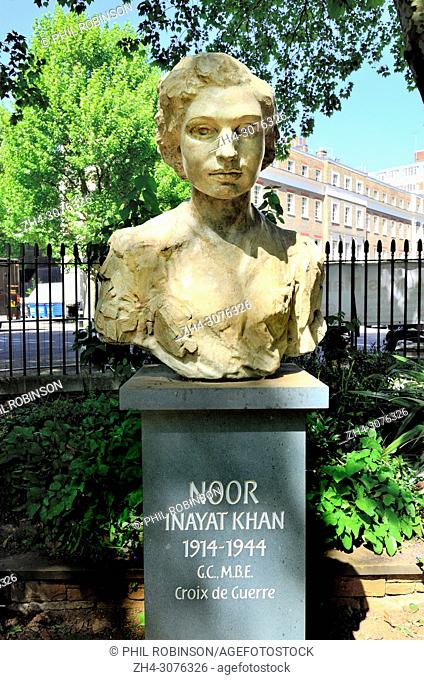 Bust of Noor Inayat Khan (British-Indian agent: 1914-1944) Gordon Square Gardens, Bloomsbury, London, England, UK. Worked for the SOE and the French Resistance