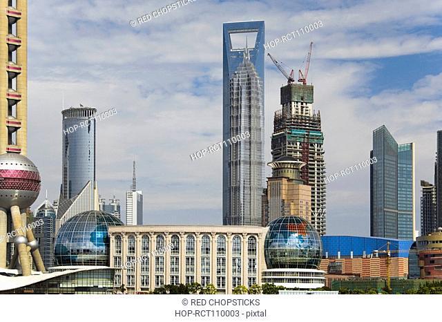 Buildings in a city, Lujiazui, The Bund, Shanghai, China