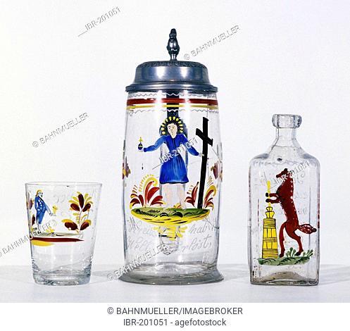 Franconian Museum Feuchtwangen Middle Franconian Bavaria Germany beer mug made by glass inscripted Mit dem Kreuz hab ich die Welt erloest cup and bottle of...
