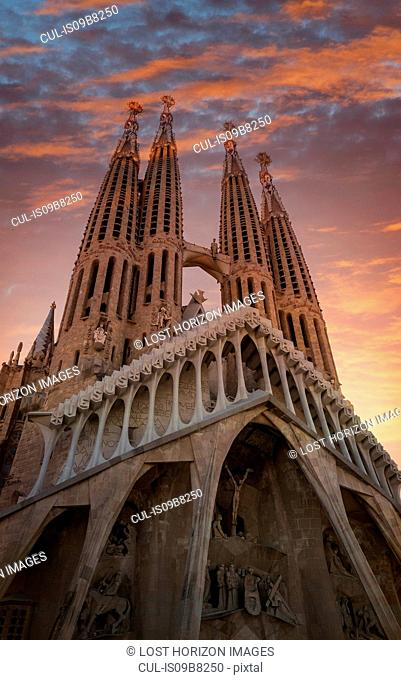 Sagrada familia cathedral at sunset, Barcelona, Catalonia, Spain, Europe