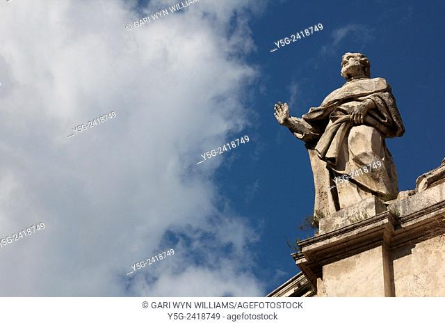 Statue at the san marcello al corso church on via del corso street in rome italy