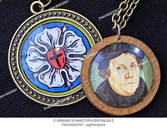 Accessories featuring images of a Luther rose or of Protestant Reformer MartinLuther, seen in the tourist information of Wittenberg, Germany, 05 July 2016