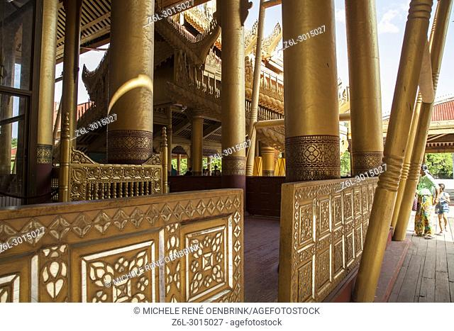 Gold doorway in Mandalay Royal Palace in Mandalay Myanmar
