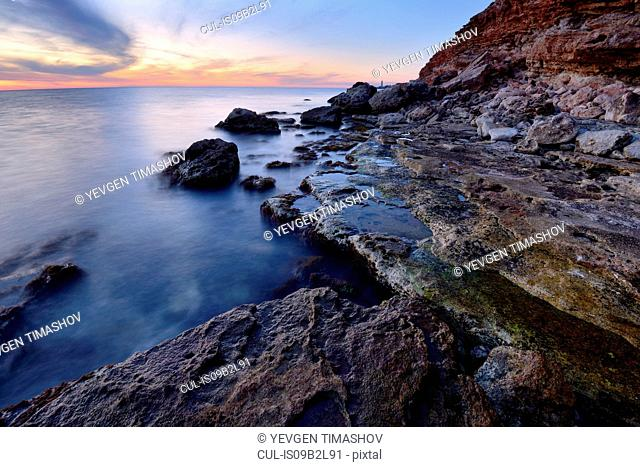 Kazachia Bay near Sevastopol at dusk, Crimea, Ukraine