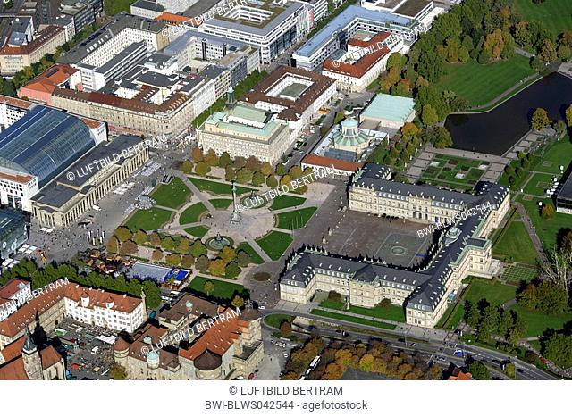 old castle, new castle, castle square and pedestrian zone, Germany, Baden-Wuerttemberg, Stuttgart