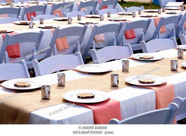 USA, Texas, Wedding reception decoration and table setup