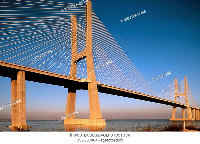 Vasco da Gama bridge over Tejo river, Lisbon. Portugal
