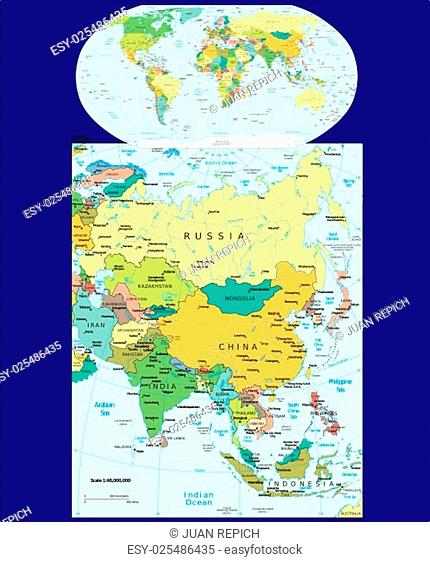 World Asia region map