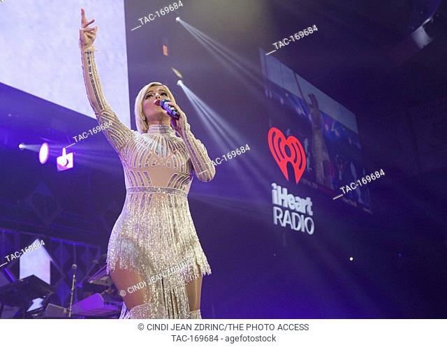 Bebe Rexha performs at 103.5 KISS FM iHeartRadio Jingle Ball at Allstate Arena on December 12, 2018 in Rosemont, Illinois
