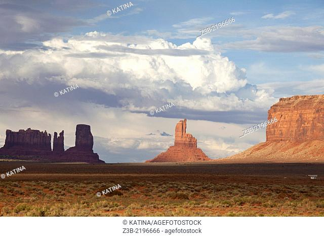 Monument Valley, Utah, USA in summer with dramatic light and sky