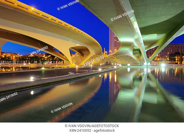 City of Arts and Sciences (Ciudad de las Artes y las Ciencias) at night, Valencia, Valencian Community, Spain