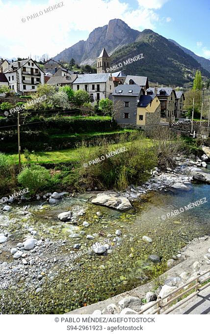 View of Bielsa, river and mountains, Huesca, Spain