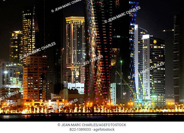 Modern towers, Doha, capital of the Emirate of Qatar, Arabian Peninsula, Persian Gulf, Middle East