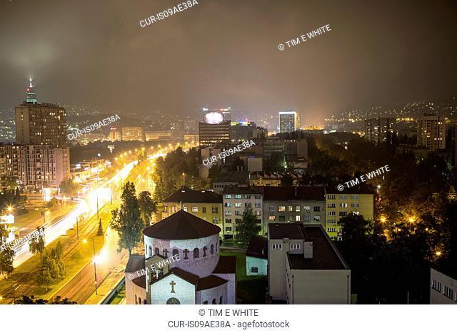City skyline at night, Sarajevo, Bosnia and Herzegovina