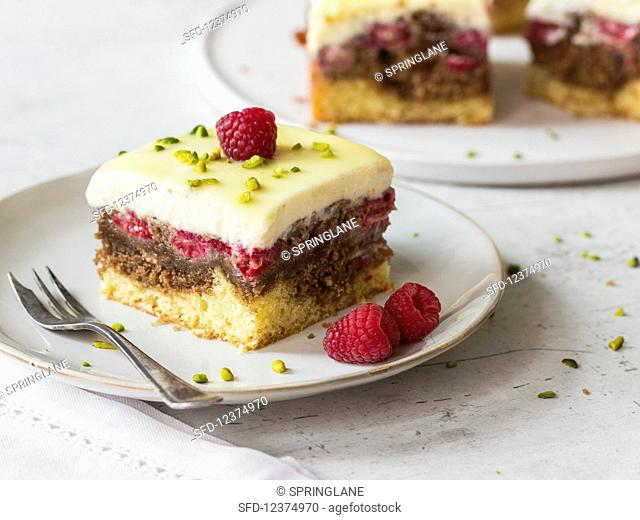 White donauwelle (marble cake) with raspberries