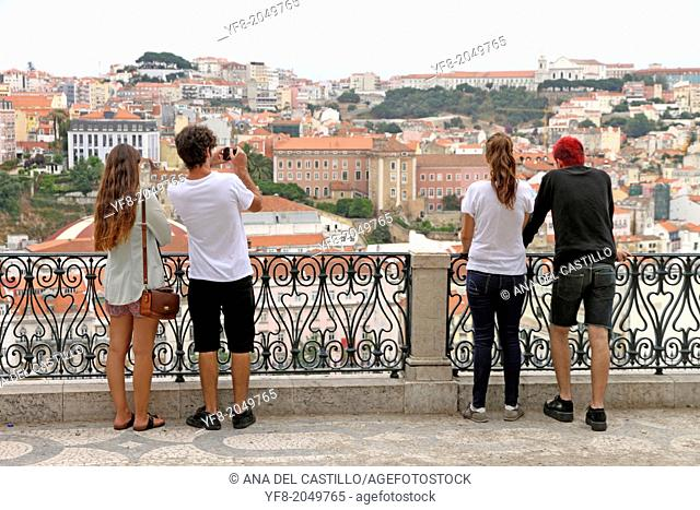 Viewpoint Castle and rooftops Lisbon Portugal