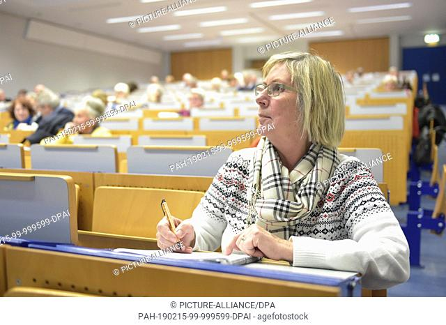 24 January 2019, Hessen, Frankfurt/Main: Roswitha Waldmann is sitting in a lecture hall of the Johann Wolfgang Goethe University before the beginning of a...