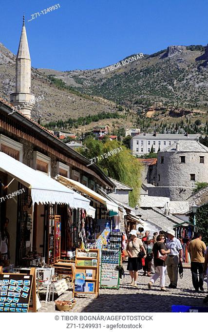 Bosnia and Herzegovina, Mostar, Kujundziluk Street, shops, people