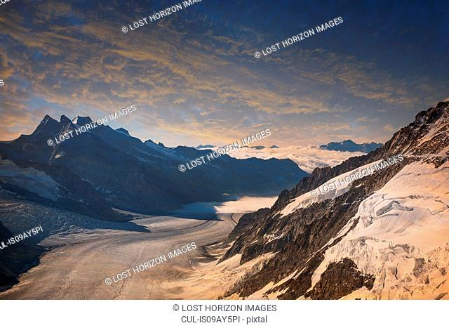 The Aletsch Glacier view from the top of the Jungfrau, Alps, Canton Bern, Switzerland