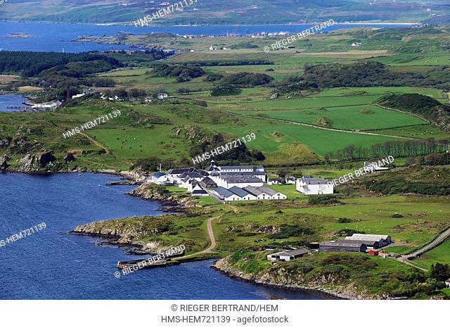 United Kingdom, Scotland, Inner Hebrides, Islay Island, Port Ellen, Ardbeg Scotch whisky distillery aerial view