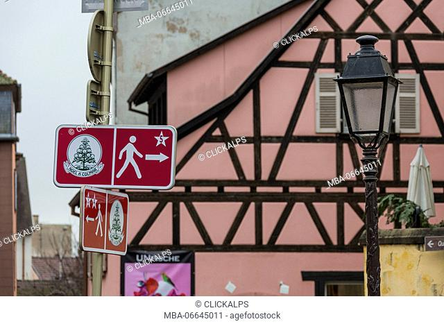 Road signs and street lamp frame the typical medieval old town Petite Venise Colmar Haut-Rhin department Alsace France Europe
