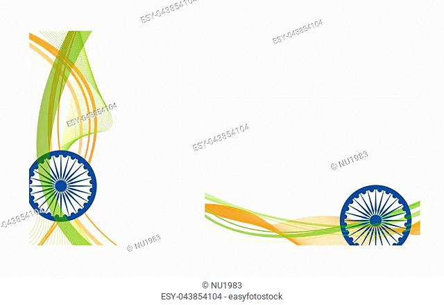 Happy Indian Independence Day celebration on flag color greeting card EPS10