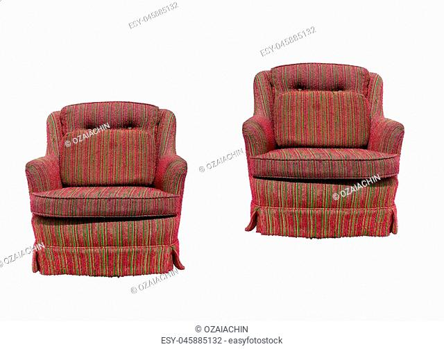 Bright Armchair isolated on white with a drop shadow