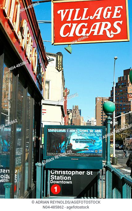 Village Cigars, Christopher Street and Seventh Avenue, SW Corner, West Village, NYC