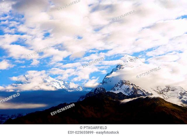 View of Annapurna mountain, trek to base camp conservation area, Nepal