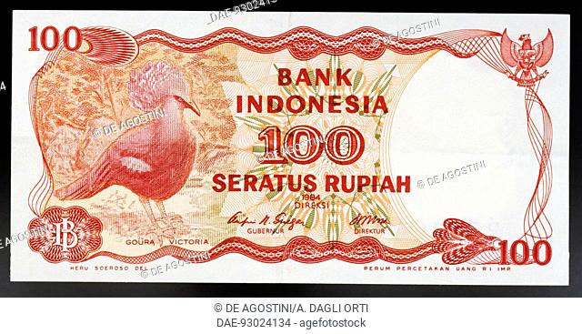 100 rupiah banknote, 1984, obverse, the Victoria crowned pigeon (Goura victoria). Indonesia, 20th century