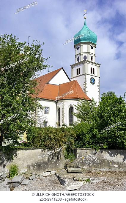 View of St. George's in Wasserburg at Lake Constance, Bavaria, Germany