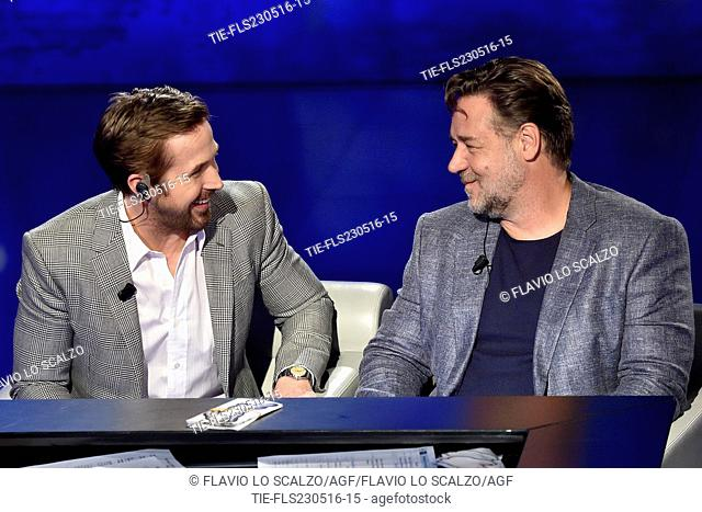 Ryan Gosling, Russell Crowe during the interview at tv show Che tempo che fa, Milan, ITALY-22-05-2016