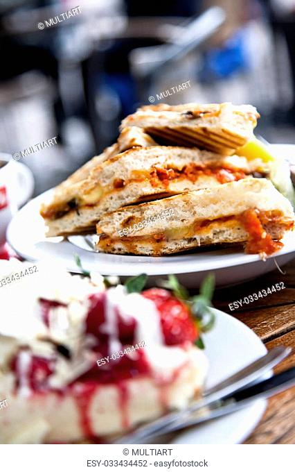 Delicious sandwiches outdoors in caf�