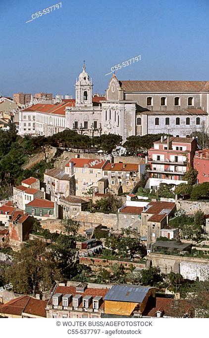 Church of Nossa Senhora da Graça as seen from Castelo de São Jorge, Lisbon. Portugal