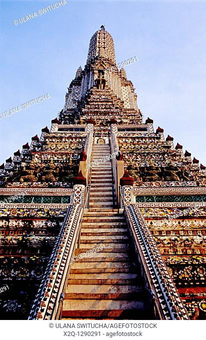 Looking up the main spire of Wat Arun the Temple of the Dawn in Bangkok Thailand