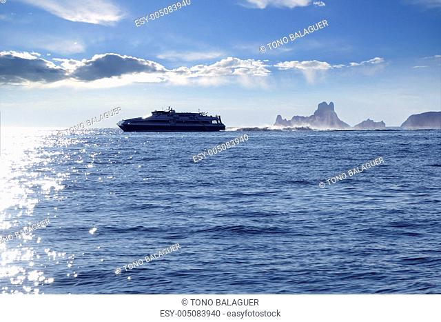 Ferry crossing Ibiza Formentera sunset Es Vedra