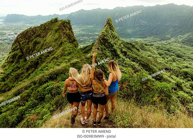 Rear view of friends on grass covered mountain, Oahu, Hawaii, USA