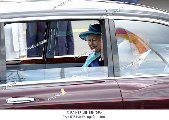 British Queen Elizabeth II. and Prince Philip, the Duke of Edinburgh, arrive at Tegel Airport inBerlin, Germany, 25 June 2015