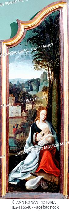 'Adoration of the Shepherds', triptych, late 15th-early 16th century. Right panel showing the Virgin and Child