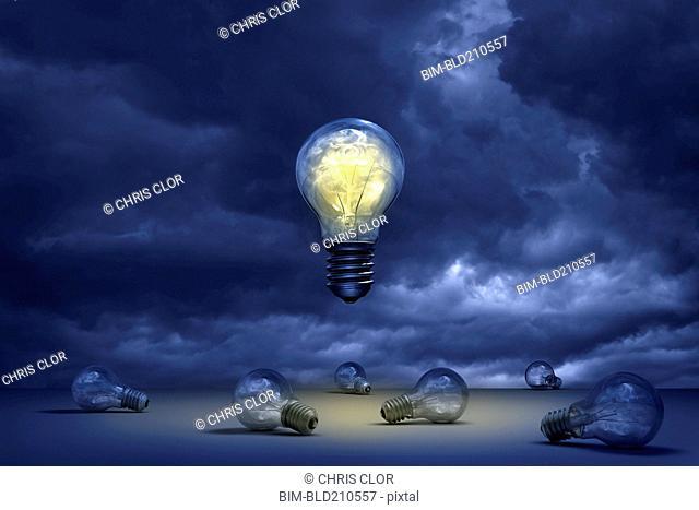 Illuminated light bulb floating over dead bulbs