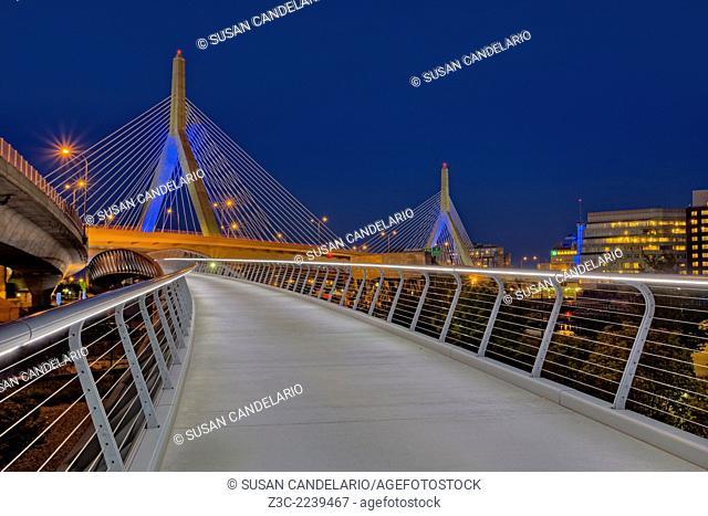 The Leonard P. Zakim Bunker Hill Memorial Bridge at twilight. The Zakim bridge, was part of The Big Dig Project in Boston